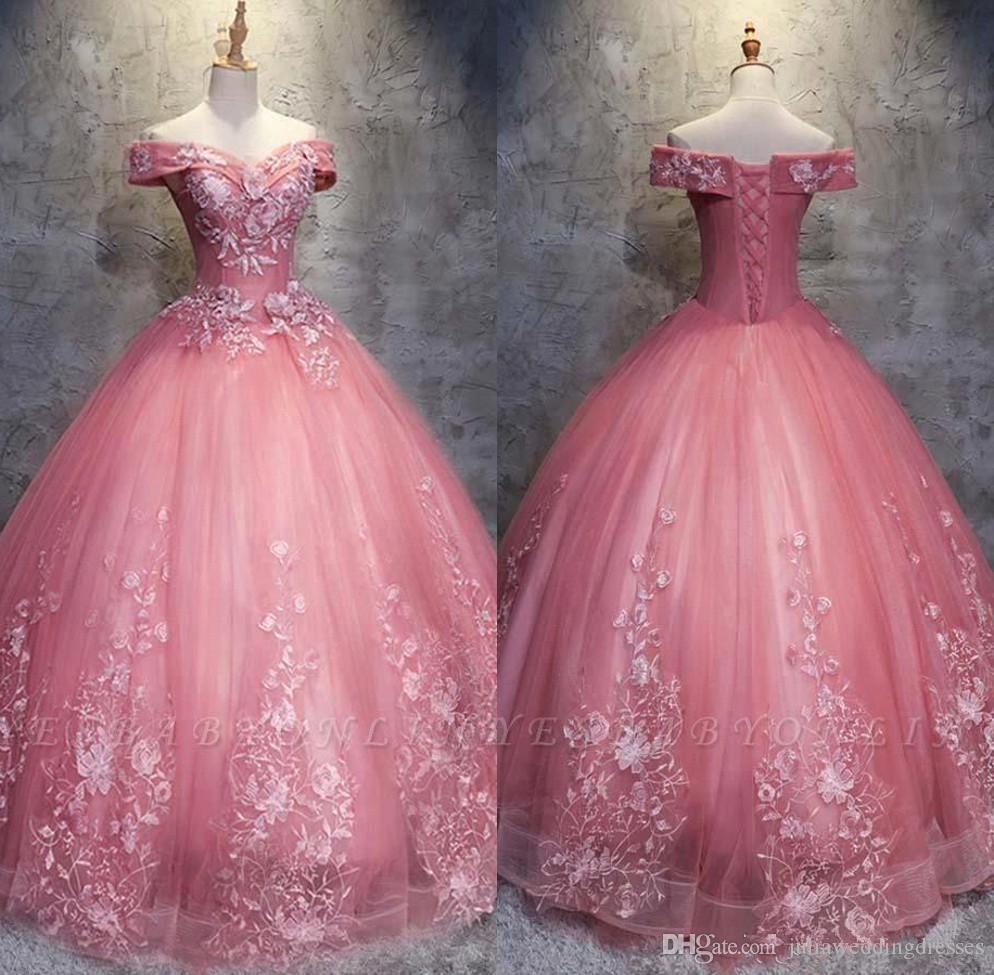 2019 Elegant Rose Robe De Bal Rose Robe De Quinceanera Perlée Douce 16 Ans À Lacets Prom Soirée Robe De Soirée Robe De 15 Anos QC1393