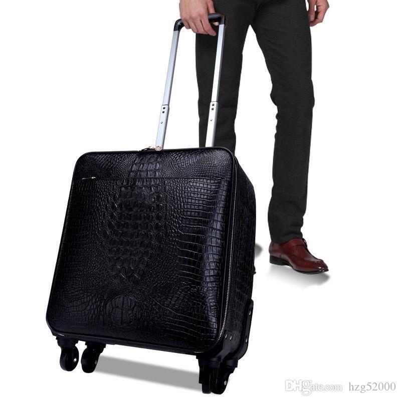 carry valise onTravel Sac Carry-OnVmenCanvas CoatedReal cuir Rolling Luggage Mode Voyage Designer