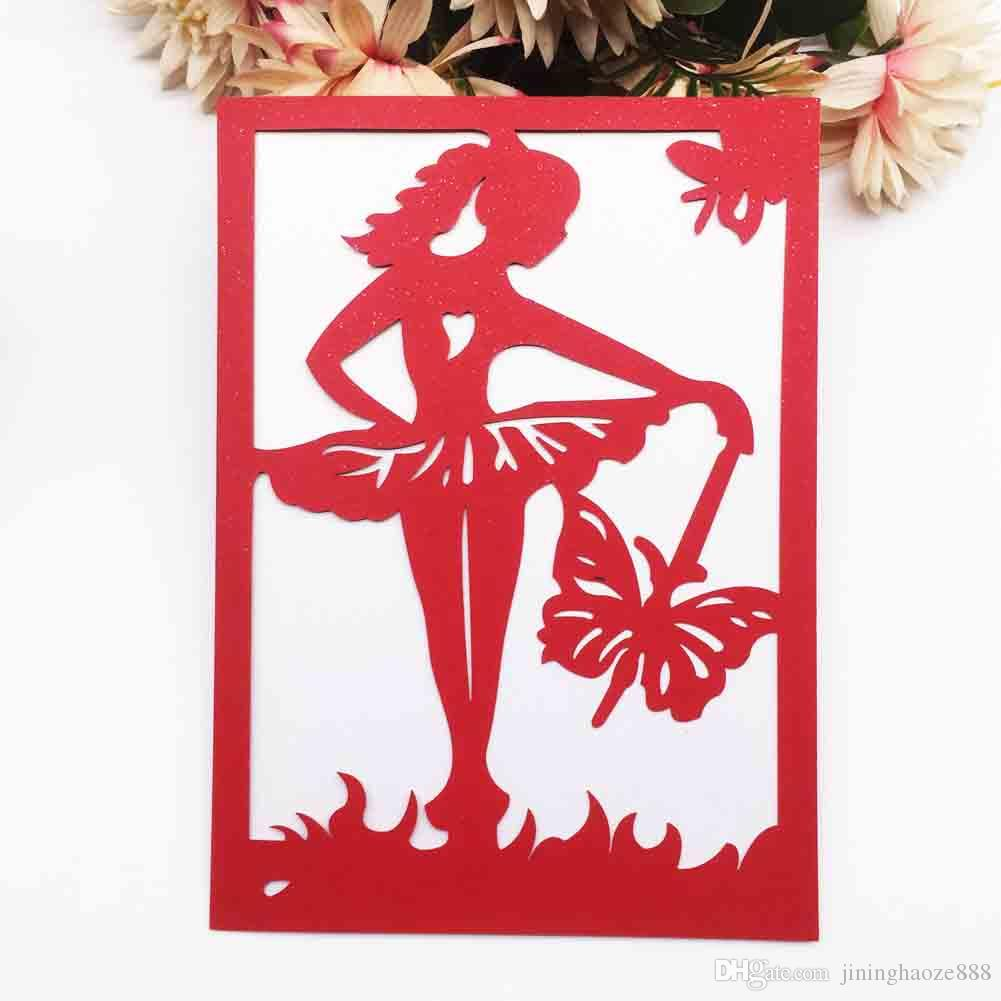 Compre Tarjeta De Invitación De Boda De Lujo Decoración De Sobres Bailarina De Ballet Fiesta De Cumpleaños Ducha Nupcial Tarjetas De Regalo Tarjetas