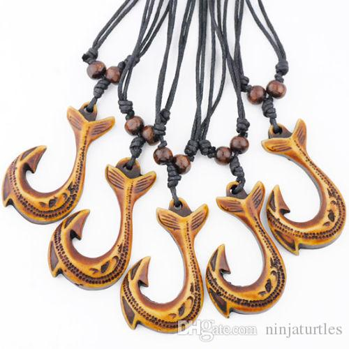 Wholesale 12pcs Tribal style Yak Bone Powder Carving New Zealand Maori Fish Hooks Pendants Necklaces GIFTS MN228