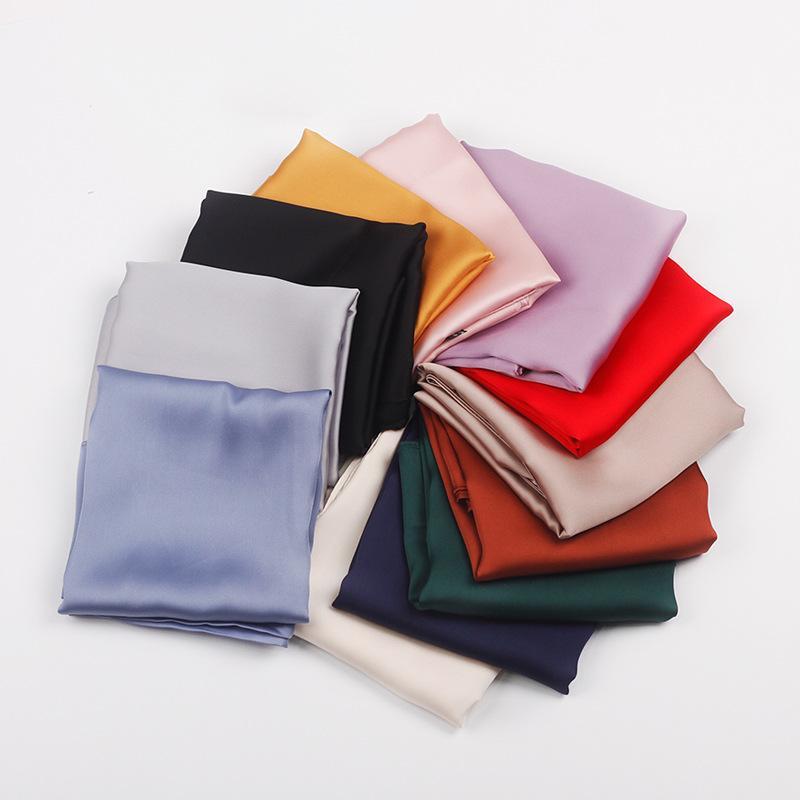 Шарфы 70 * 70см твердых шелковых платок маленький волос шарф для женщин милая простая сумка шарфы женские зеленые черные розовые шеи дамы