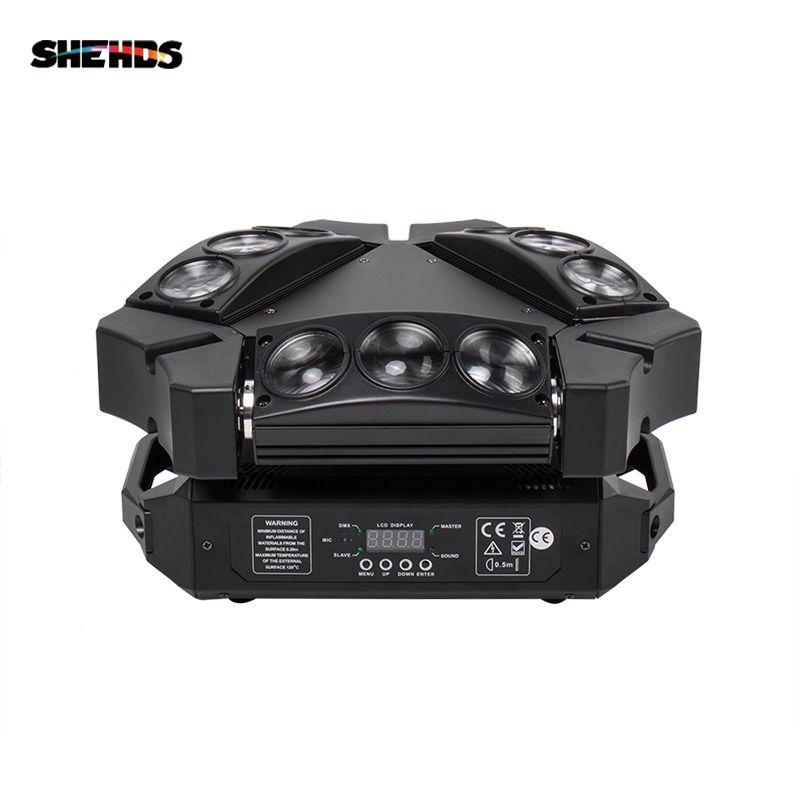 Shehds 미니 LED 9x10w LED 거미 빛 RGBW 16 / 48ch DMX 무대 조명 DJ LED 거미 이동 헤드 빔 빛