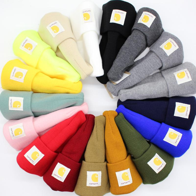 19 Colors Autumn Winter Knitted Beanie Caps for Men Women Outdoor Sport Wool Warm Skull Cap Casual Lovers Street Hat