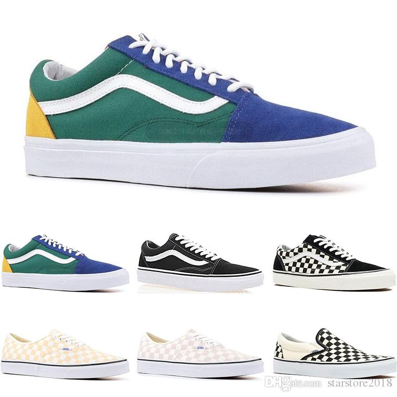 2020 Online Sale Mens Womens Canvas Original Vans Old Skool Sk8 Hi Sneakers Black White Pink YACHT CLUB Strawberry Skate Casual Shoes Size 36 44 From