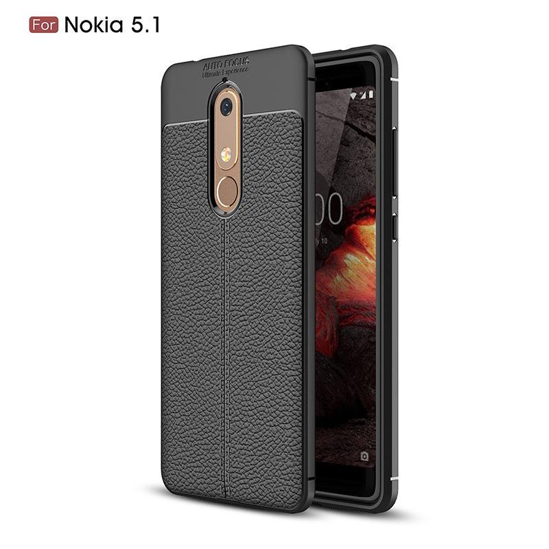 Para Nokia 5.1 Teléfono El caso ultra fino delgado de silicona del grano del lichí de TPU prueba de golpes de piel Absorción cubierta protectora de parachoques