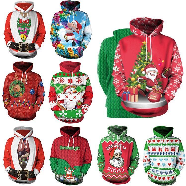 Unisex Men Women 2019 Ugly Christmas Sweater Vacation Santa Elf Funny Christmas Fake Hair Jumper Autumn Winter Tops Hot Clothing Men Women