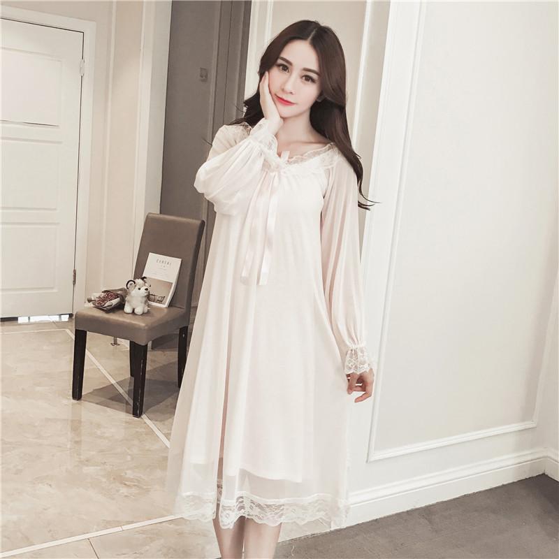 المرأة ملابس خاصة 2021 إمرأة ناعمة أنيقة ميدي أبعاد الإناث الحلو الأميرة النوم المنزل اللباس سيدة الرباط مثير الأبيض الوردي باس النوم