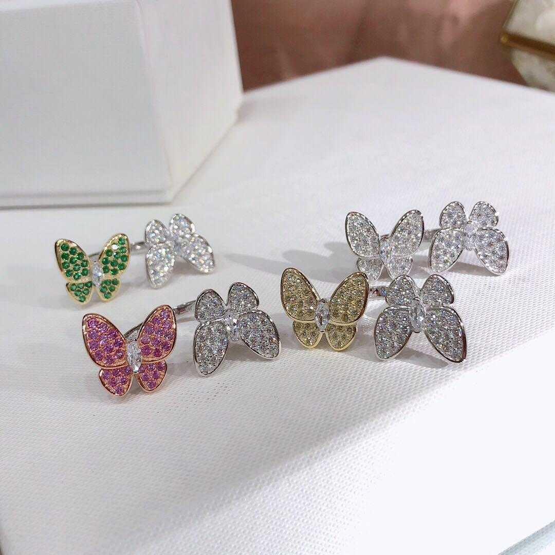 925 sterling silver designer butterfly diamond rings for lady Design womens Party Wedding engagement luxury jewelry for Couples WITH BOX