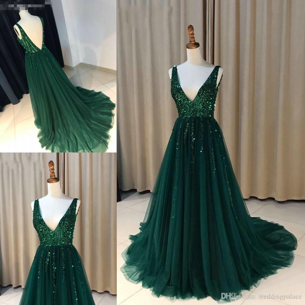 2018 섹시한 V 넥 A 라인 긴 이브닝 드레스 Seqin 페르시 지퍼 다시 공식 이브닝 가운 댄스 파티 드레스 Vestido de Noche