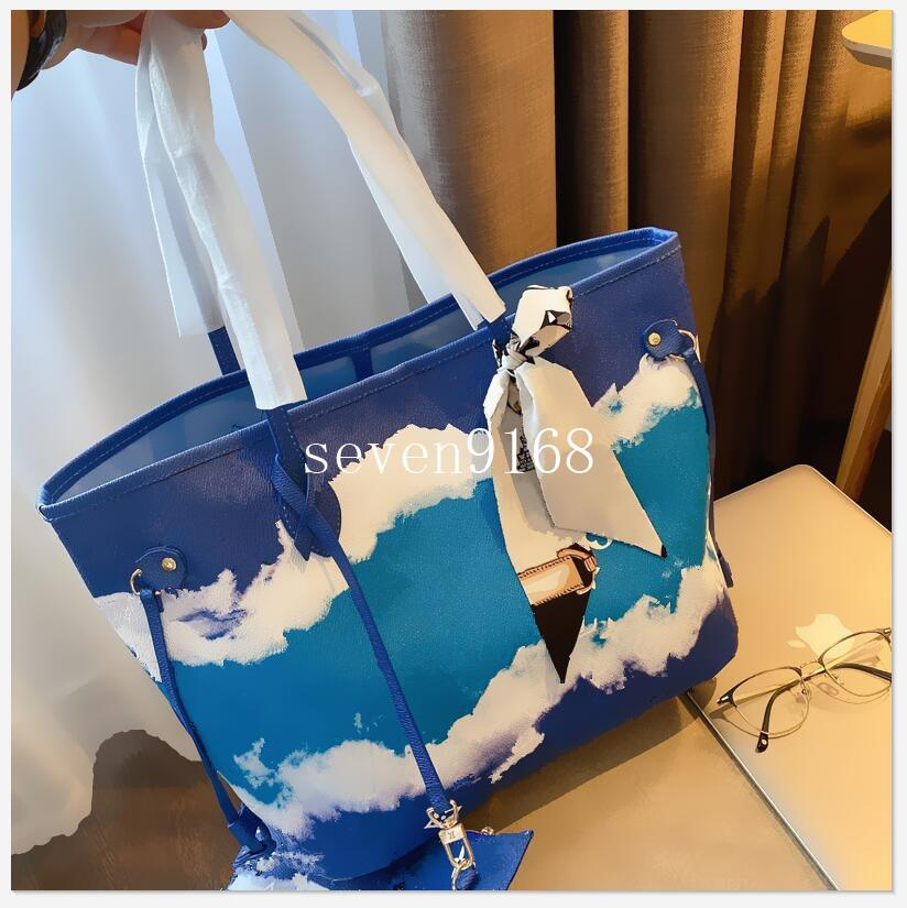 2adet yüksek qulity klasik Tasarımcı Womens çanta çiçek bayanlar kompozit torbaları deri debriyaj omuz çantaları cüzdan ile kadın çanta set
