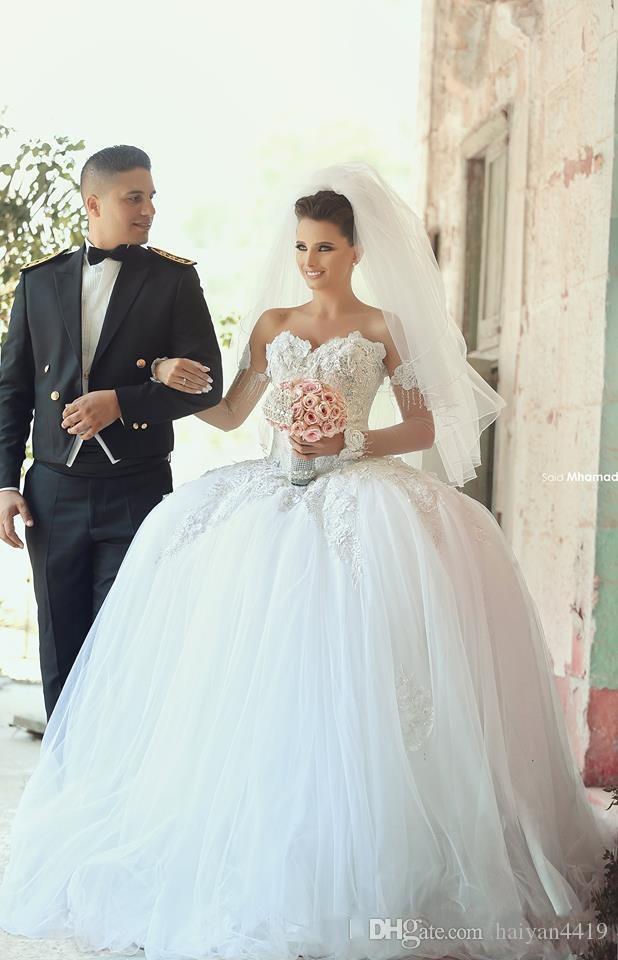 Новые Сексуальные арабские шариковые платья свадебные платья Милая с длинными рукавами Тюль кружевной аппликации бусины пухлые доли плюс размер формальных свадебных платьев
