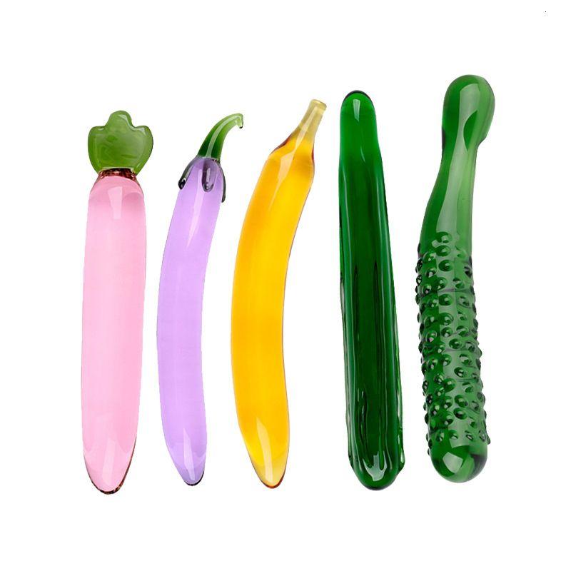 Стекло дилдо, Crystal Пенис Anal Butt Plug Вагинальный G-Spot клитора Мастурбация массажер секс игрушки для женщин Y191026