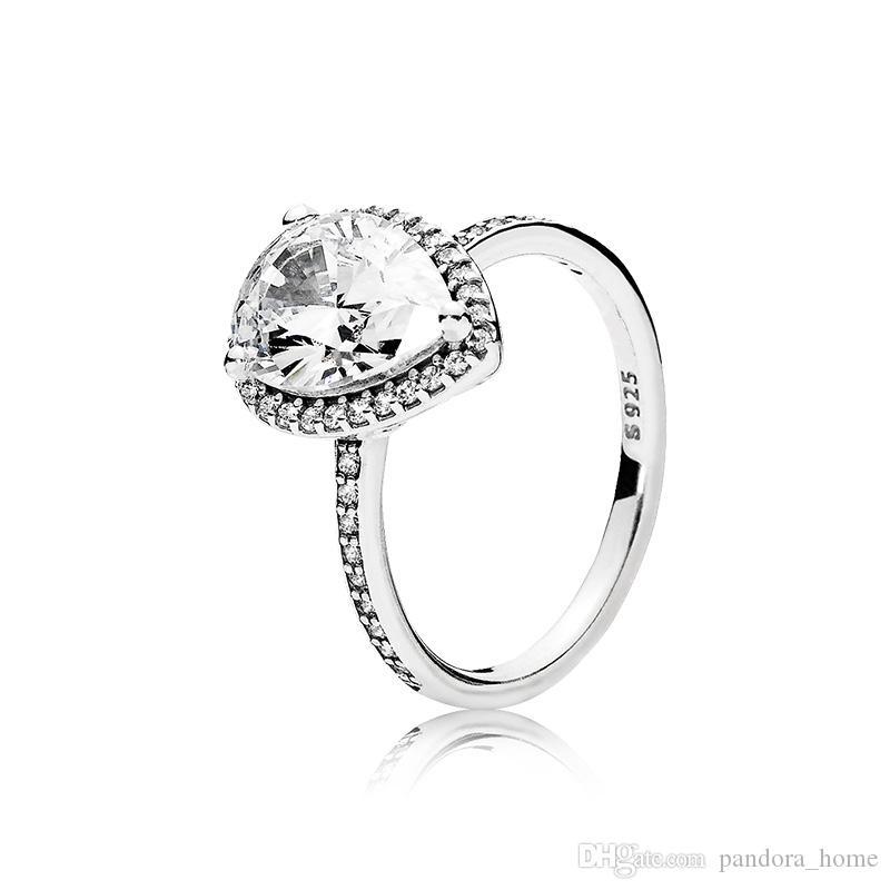 لامعة الدمعة CZ خاتم الماس لباندورا فاخر مصمم 925 فضة المرأة خاتم الزواج مجموعة أصلي صندوق مجموعة شحن مجاني