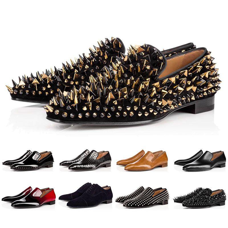 ار بيع القاع فاخر مصمم الأحمر القيعان رصع المسامير العلامة التجارية اللباس رجالي أحذية جلدية للرجال حزب أحذية رياضية عاشق الزفاف الرياضيةChristian Louboutin Red Bottoms CL shoes 47