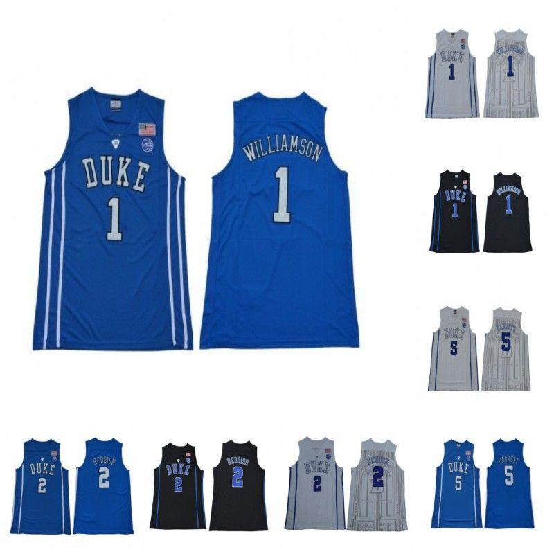 NCAA DUKE Blue Devils College 1 Zion Williamson Jerseys 2 Cameron Reddish 5 R.J. RJ Barrett جامعة كرة السلة رجالي مخيط أسود أبيض