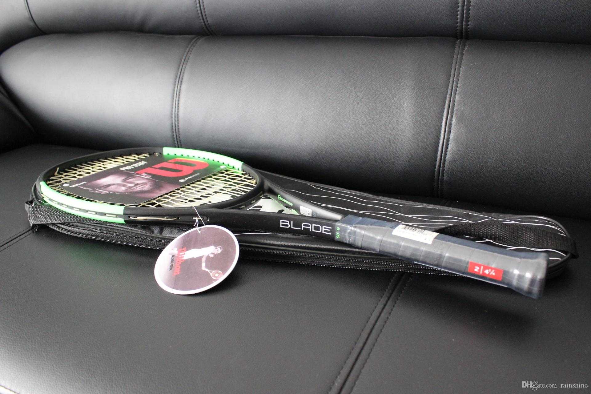 Wholesale top quality tennis rackets Blade 98 Green racquet with string and bag 1 piece racket free shipping