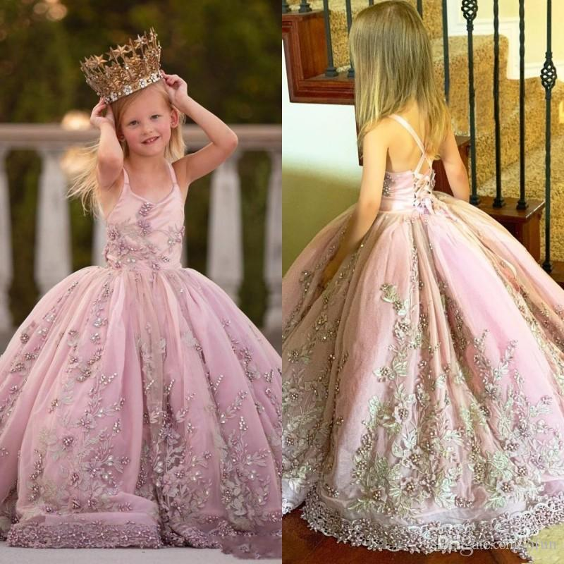 Gorgeous Spaghetti Strap Appliques Beaded Ball Gown Flower Girls Dresse Lace-up Back Pearls Long Girls Pageant Gowns