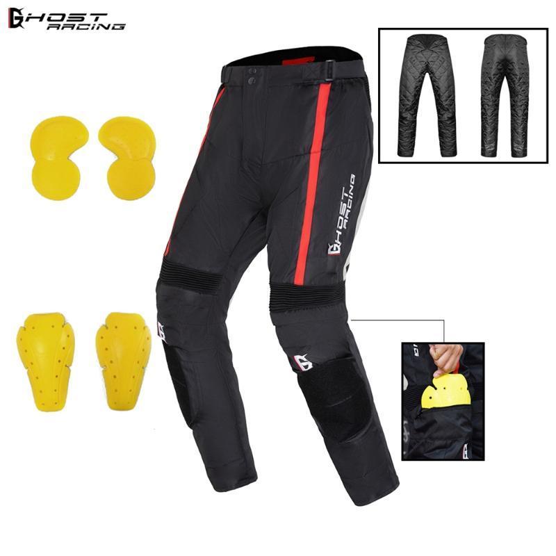 GHOST RACING Winter Waterproof Windproof Warm Motorcycle Riding Pants Motorbike Motocross Protective Trousers Men Armor Jacket