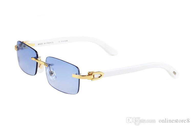 الأزياء الكلاسيكية بدون شفة بيضاء خشبية الخيزران الجاموس القرن نظارات 2019 الصيف أنماط الرجال النساء العلامة التجارية مصمم النظارات oculos دي سول