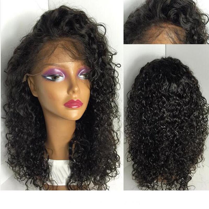 360 Frontal dentelle perruque frisée malaisienne humaine cheveux avec bébé cheveux bouclés malaisienne Vierge Non traité de dentelle Vierge Perruques Pre plumé