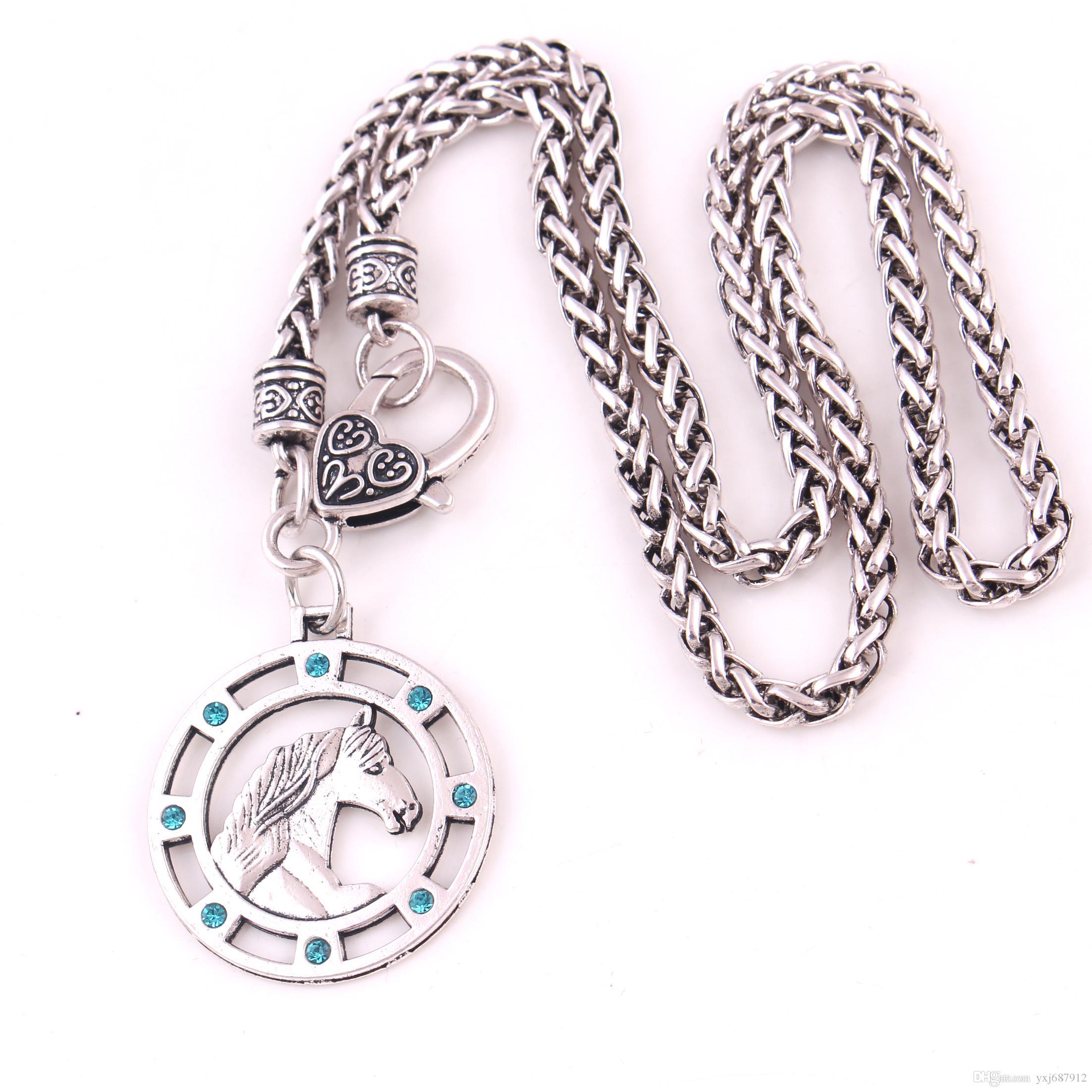 YY13 europäisches und amerikanisches Amulett slawisches Kristallpferdanhänger-Weizenhalskette