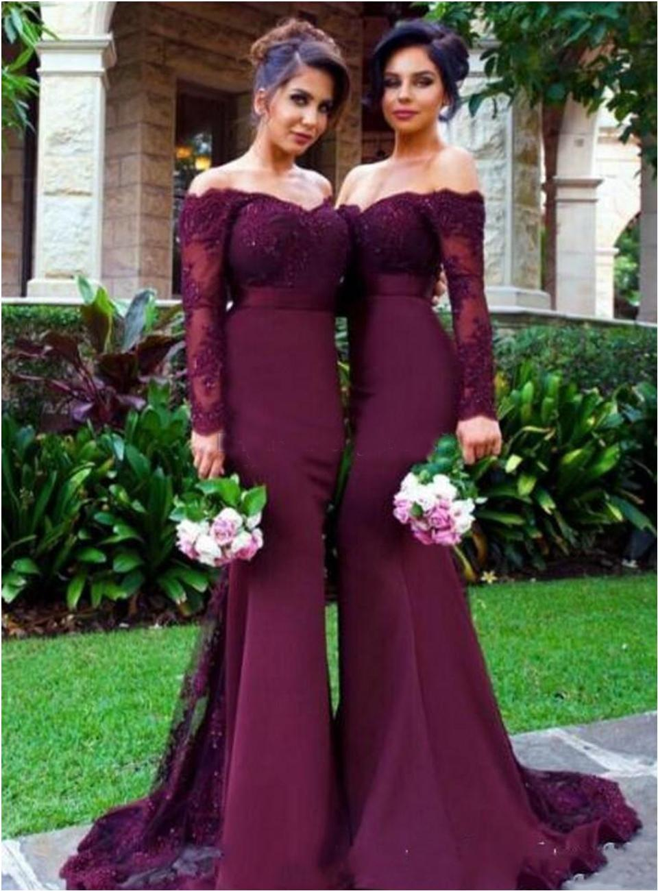 2020 Lace Appliques Off the Shoulder Maid of Honor Gowns Custom Made Formal Evening Dresses Burgundy Long Sleeves Mermaid Bridesmaid Dresses
