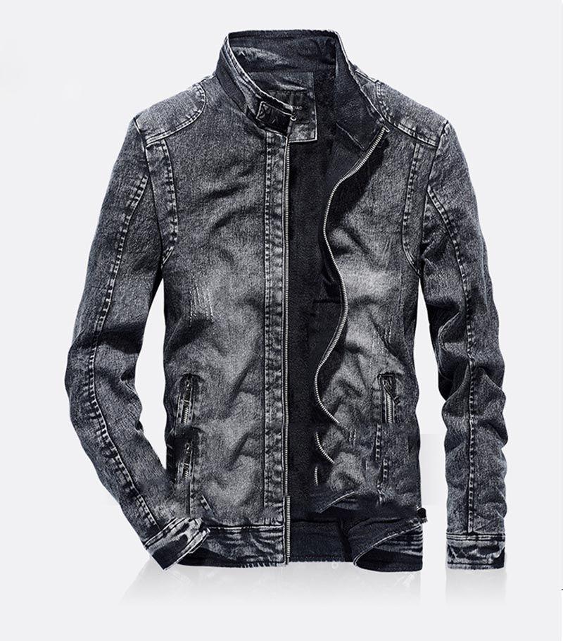 Denim Jackets Vintage Men Slim Fit cor sólida Casual Mens Jeans Brasão 2018 Moda roupas vintage para Homens Preto Azul 1826