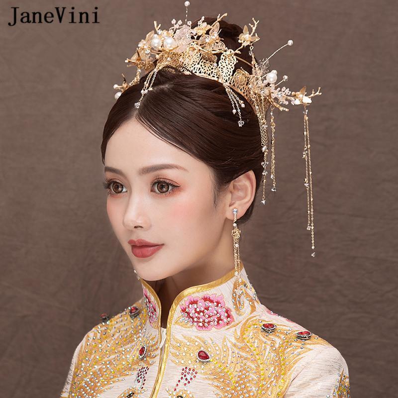 JaneVini 빈티지 중국 스타일 신부 머리띠 진주 고대의 골드 나비 헤어핀 개의 Tassels 웨딩 쥬얼리 헤어 액세서리