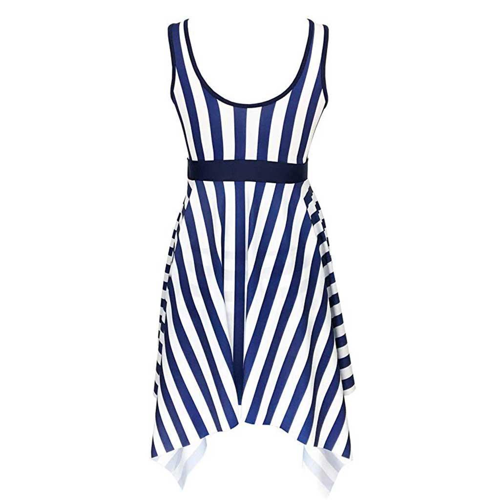 One Piece Monokini Women Stripe Dress Ladies Push Up Swimwear Beach Party Bikini Biquinis Feminino 2019 Swimsuit PlusSize 18J10