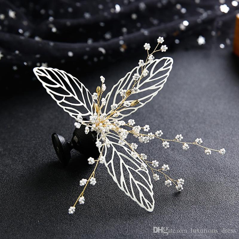 Novia de la boda Headwear arcos hecho a mano del Rhinestone de la perla de la venda del hairband de lujo accesorios para el cabello Headpiece Fascinators Fotos de oro real