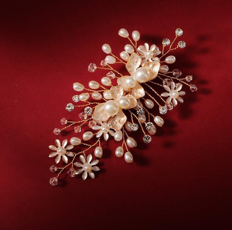 Acessórios para casamentos Flor macia Noiva Jóias grampo de cabelo com Crystal Pearl Beauty liga cabelo nupcial pinos Grampos com caixa de presente preto