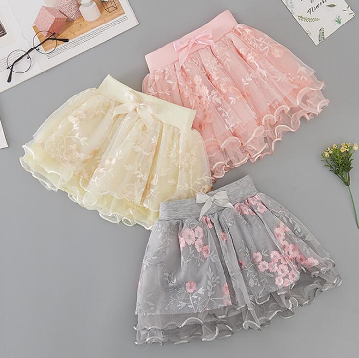 puro cotone 2020 primavera estate nuove ragazze maglia ricamata gonne 3-8 anni GD152 abbigliamento per bambini