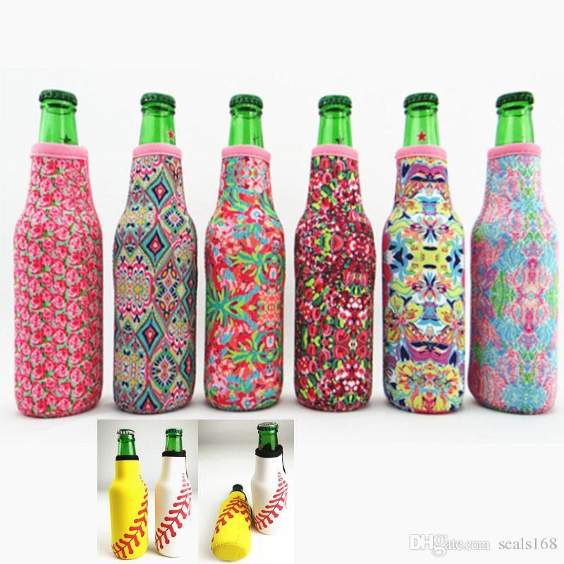 Garrafa Enrole Neoprene Beer refrigerador Baseball Jewel Coral Rose Mucho Printing pode cobrir Bags Ferramentas da cozinha 330ML HH7-2059