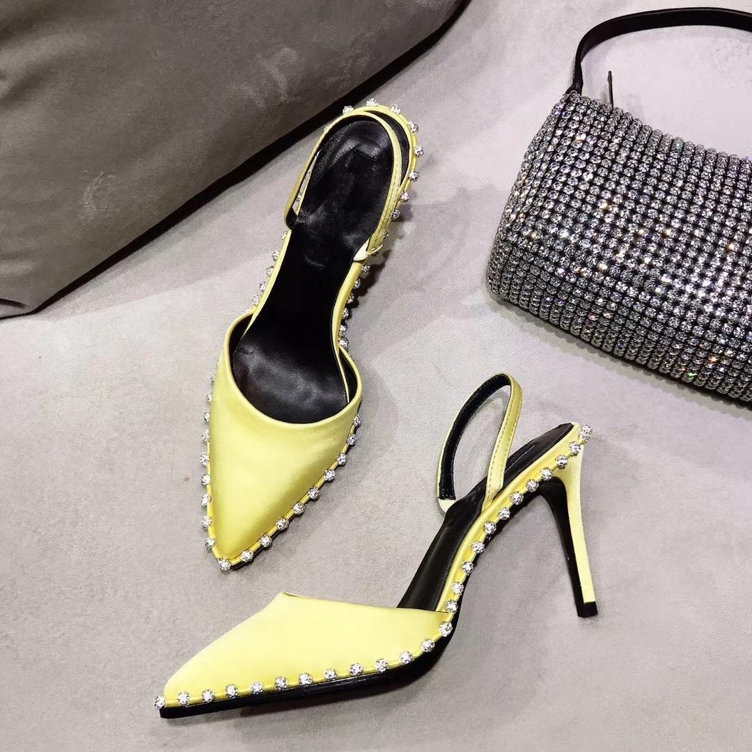 pompe jaune satin rina slingback cristal nova embelli chaussures à talons hauts avec chaîne maille femmes strass poche r chaussures