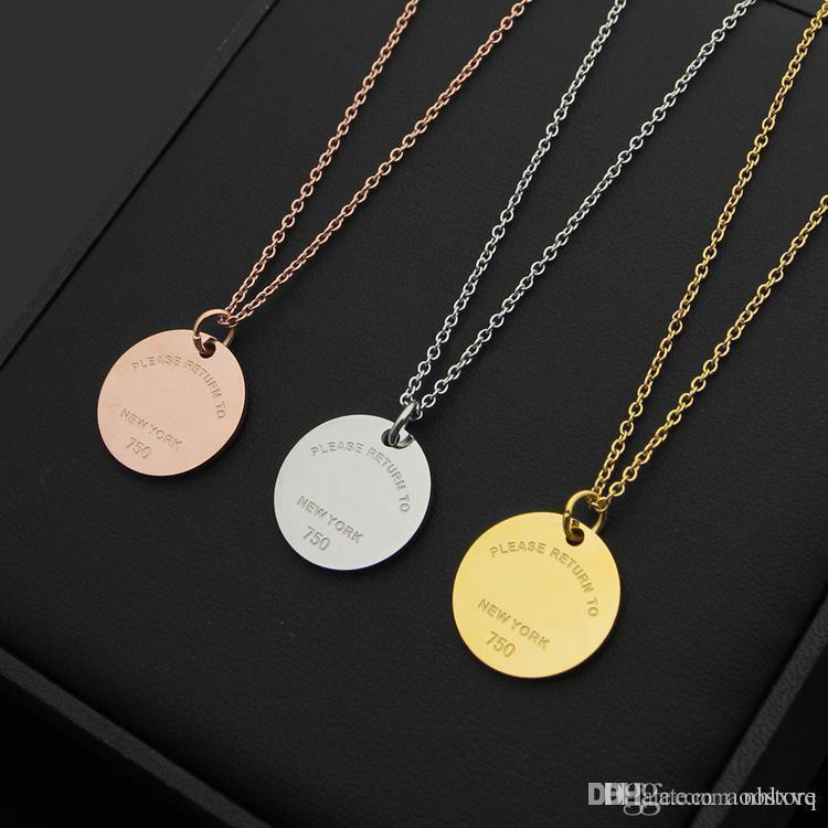 316L титановая сталь любовь ожерелье T письмо круглый кулон дамы ожерелье 18 К золото пара ожерелье ювелирные изделия цепи длиной 50 см