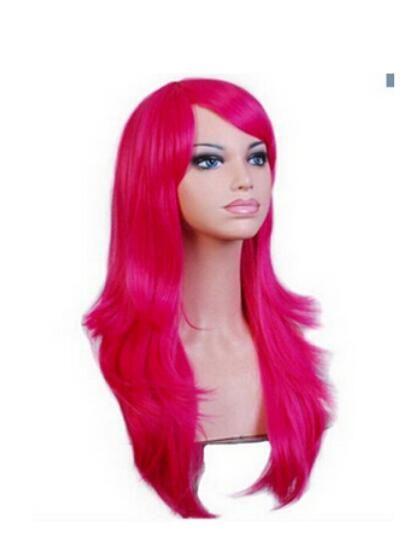 FREESHI PPING + ++ Rouge vif Longue ondulée Frange sur le côté Bangs Cheveux cheveux Cosplay Perruque