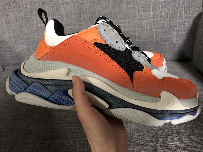 Nova Laranja Triple S Low-top Faça Old Sneaker na moda Calçado Botas Mens Womens Lace Up Shoes Top Quality Sports Shoe Casual