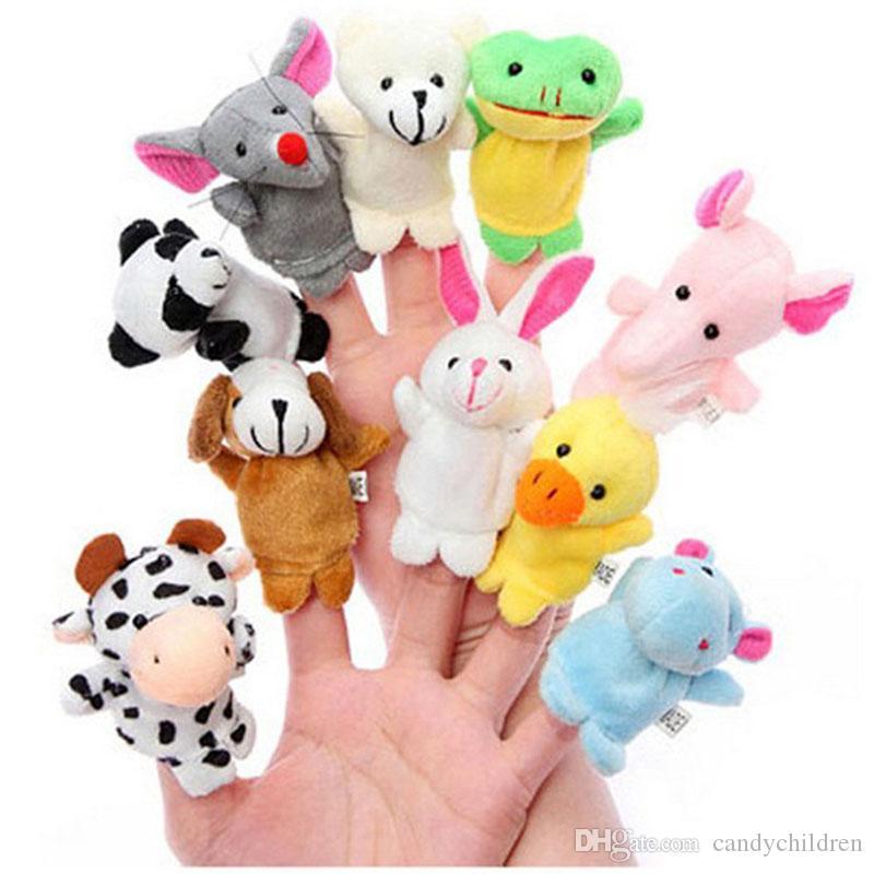 Chinese Zodiac 12pcs/lot Animals Cartoon Biological Finger Puppet Plush Toys Baby Favor Finger Dolls C46