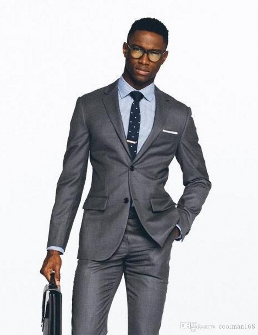 슬림 피트 그레이 맨 웨딩 턱시도 노치 옷깃 두 버튼 신랑 턱시도 인기 드레스 남성 비즈니스 디너 / Darty Suit (자켓 + 바지 + 넥타이) 320
