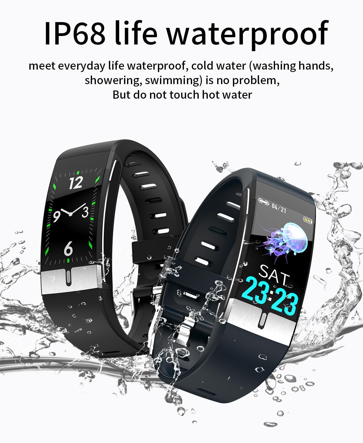 Hot Sale Smart Watch Pedometer EKG-Herzfrequenz-SP02 Thermometer Smart-Band E66-Körper-Temperatur Sport Bluetooth Armband am Handgelenk Smart-Armband