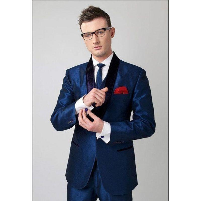 Shinny Dark Blue Men Suit For Mariage Black Lapel 2pieces(Jacket+Pants+Tie) Slim Prom Masculino Trajes De Hombre Blazer
