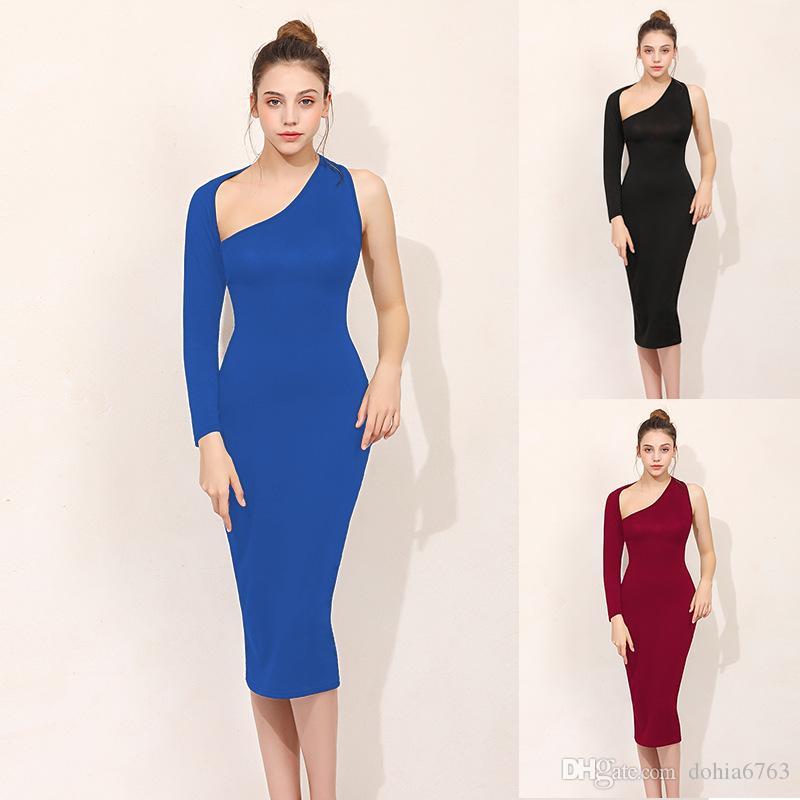 Avrupa ve Amerikan kadın elbise bahar ve yaz sezonu bez tek kollu dar kalça elbise üç renk