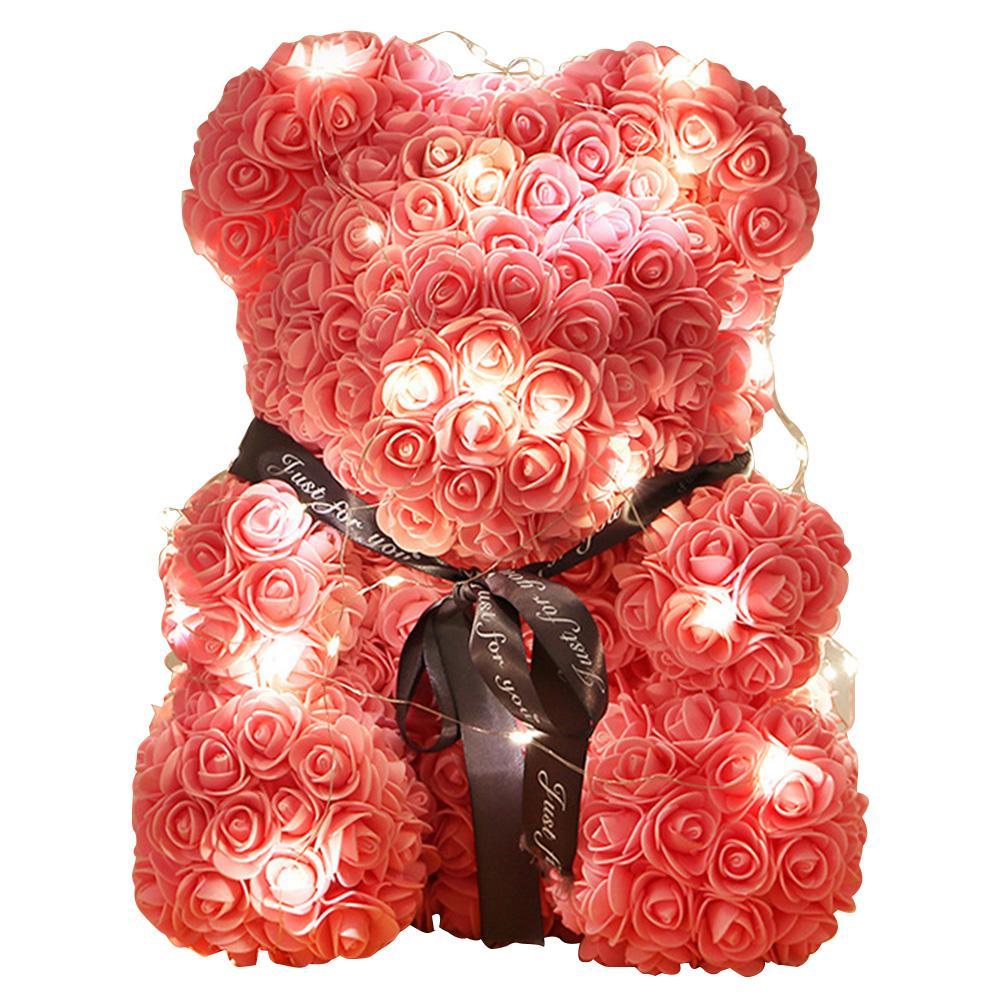40CM romantische Rosen-Bärenjunges immer künstliche Rose Jahrestag Mutter s Day Valentines Geschenk mit Schnur-Licht-Dropshipping mit Box