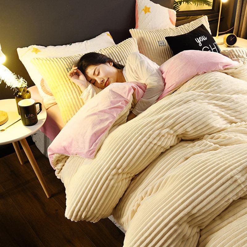 Nueva raya magia paño grueso y suave funda de edredón juego de cama extra grande hoja plana AB funda de almohada de franela lado de invierno de terciopelo ropa de cama equipada