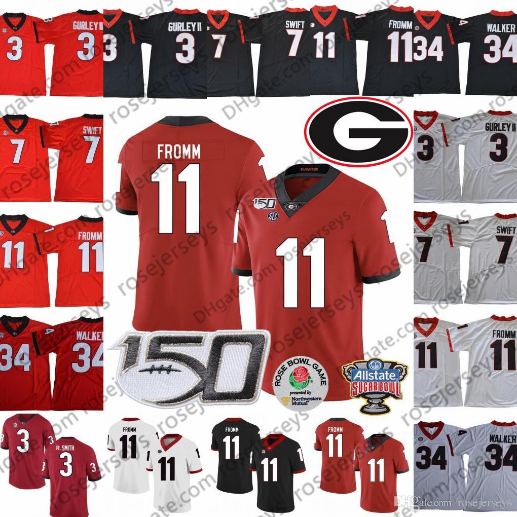 UGA Georgia Bulldogs jerseys 150º # 11 Arian Smith Jake Fromm 7 DANDRE Swift 3 Todd Gurley II 34 Herchel Walker Sugar Bowl