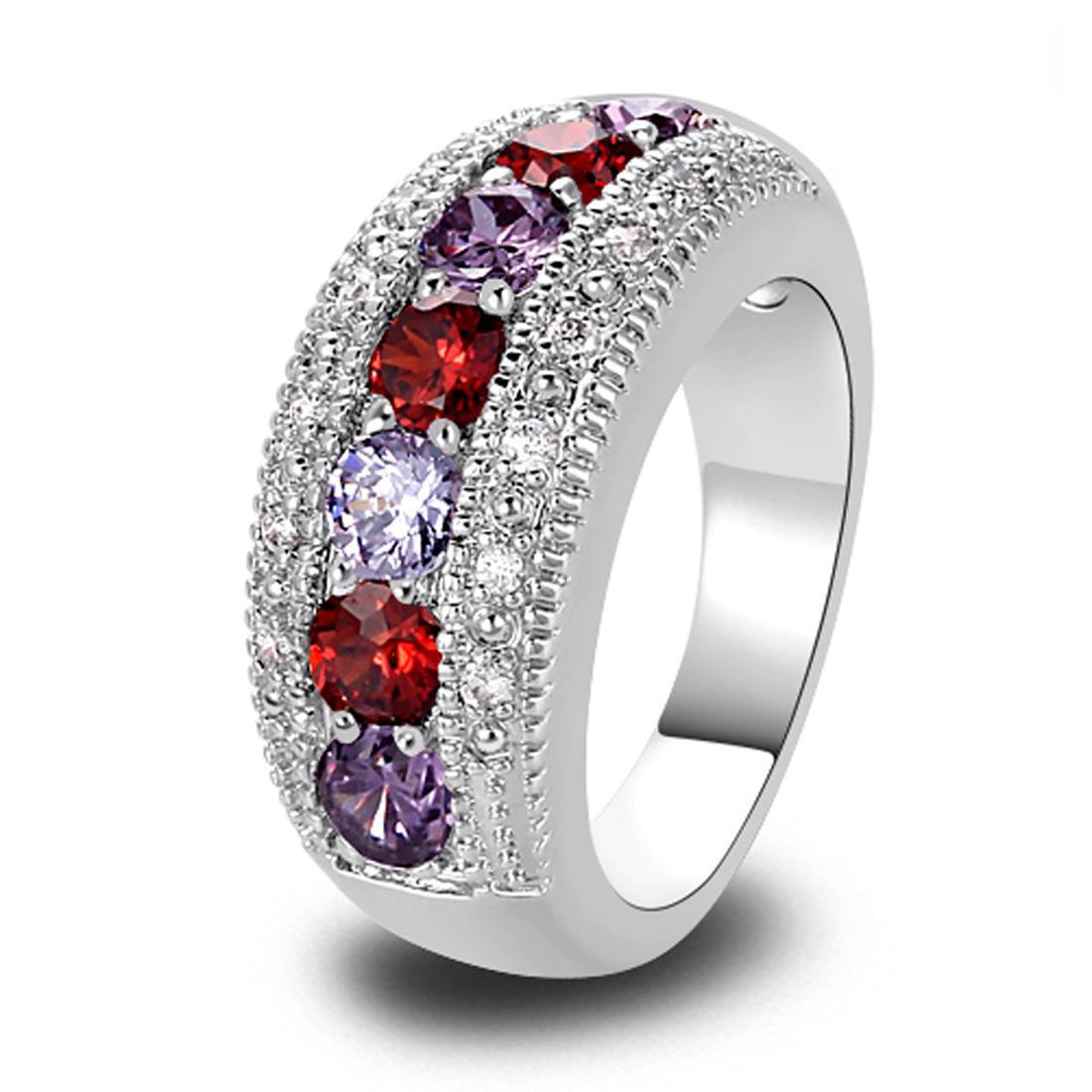 Оптово Щедрый Мода Lady Pink Кубический циркон турмалин серебряное кольцо размер 6 7 8 9 10 11 12 13 Романтический ювелирные изделия