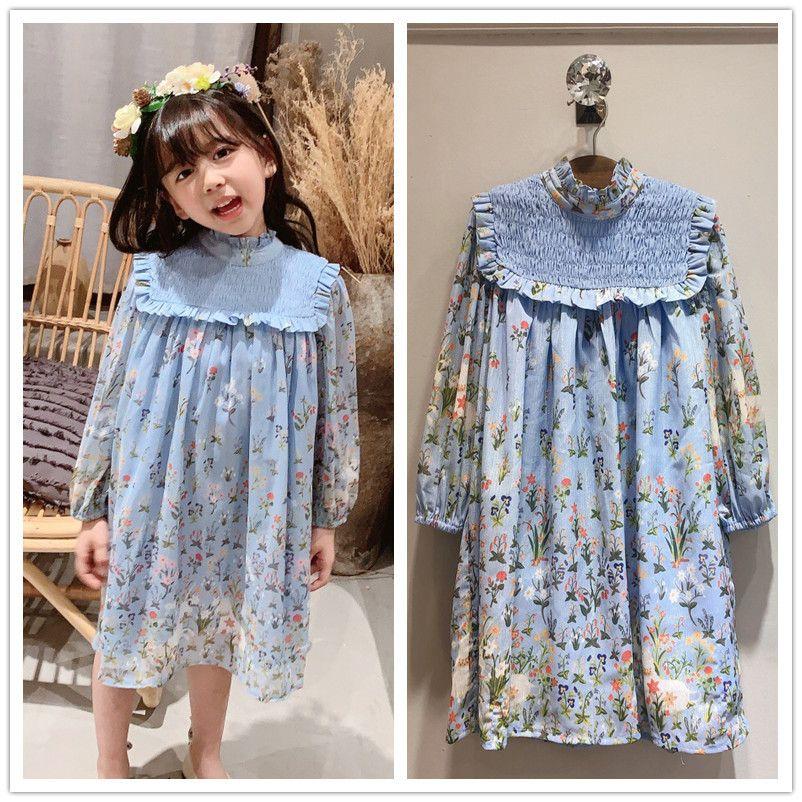 auf Lager Frühjahr Sommer-Babykleid Hülse lange blaue Blumenmuster süßes Kleinkind-Baby Kleidkind-Parteikleid T200417