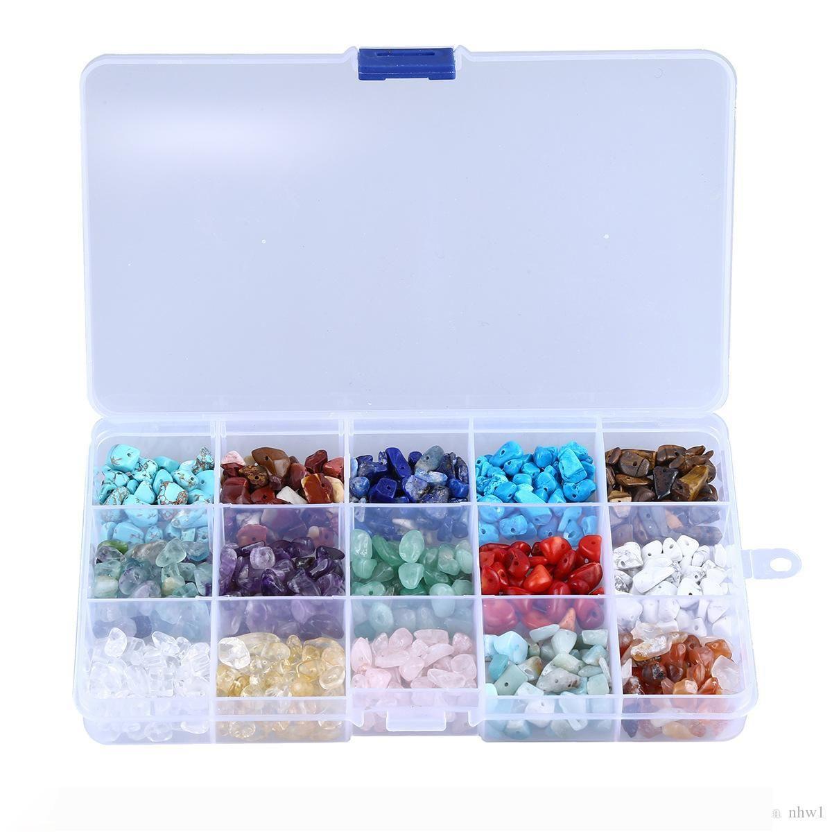 15 Farben Naturstein-Korn-Span-Korn-Kristalltigerauge Unregelmäßige Gravel Korn Diy Armband-Halskette für Schmuck machen