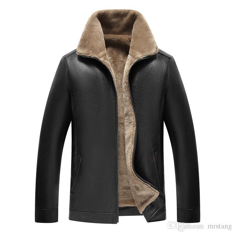 Veste en cuir épais et molletonné pour les hommes au chaud manteau pu moto avec stand veste bombardier en peau de mouton fausse fourrure col manteau d'hiver