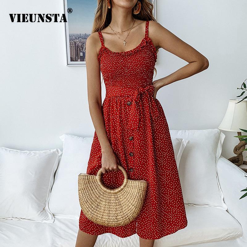 VIEUNSTA Polka Dot Print Sundress 2019 senza spalline Ruffle Sash Tied Bow A-Line Dress Donna Button Backless Summer Beach Abiti Y190424